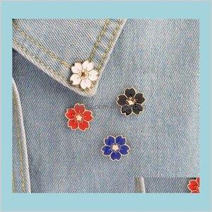 Pins Broşlar Damla Teslimat 2021 Kiraz Çiçek Altın Renk Düğmeleri Pimleri Pin Rozetleri Çanta Japon Tarzı Takı Hediye Kızlar Için Broş Ijdkk
