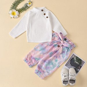 Kids Clothes Sets Children Girls Round neck long-sleeved pit strip top tie-dye trousers with belt Baby Infant Clothing