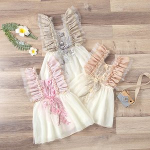 Lace Jumpsuits Baby Dress Bodysuits Rompers Princess Infant Onesies One Piece Clothing Girls Clothes 0-2T B4625