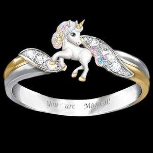 Sizin için Wini'nin Satış Şanslı Unicorn Iki Renk Yüzük Exquisite Erkekler Ve Kadın Yüzükler Yaratıcı Sizin İçin 4NZ8