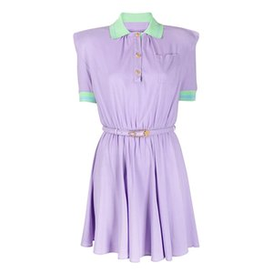 Women Summer Sexy Runway Dresses Short Sleeve Turn Down Collar MilanDress Female Slim Mini Dress With Leather Belt MR10