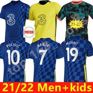 CFC 21 22 Futbol Formaları Giroud Abraham Werner Haertz Chilwell Ziyech Futbol Gömlek Pulisik Camiseta Kante Dağı 2021 2022 Erkekler Kids Kit Jorginho
