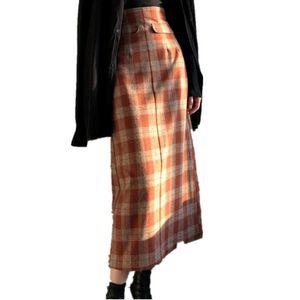 Skirts Woolen Plaid Skirt Women 2021 Autumn Winter High Waist Retro Red Medium Long A-Line Package Hip