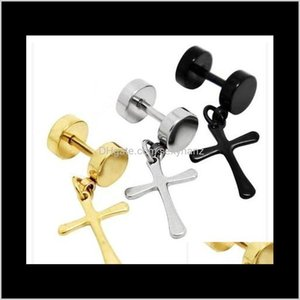 Jewelry Drop Delivery 2021 Titanium Sier Earrings Mens Ring Clip Not Allergic Cross Exaggerated Personality Fake Plugs Barbell Ear Stud Hip H
