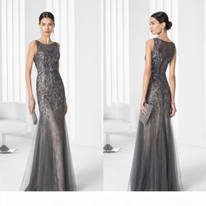 Vintage Long Sheer Evening Gowns 2020 Lace Beading Mermaid Jewel Sleeveless Party Mother Dress Luxury Cutomize