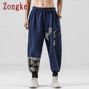Zongke Casual Harem Pants Men Clothing Joggers Japanese Streetwear Linen Men Pants Trousers Hip Hop M-5XL 2021 New H0831