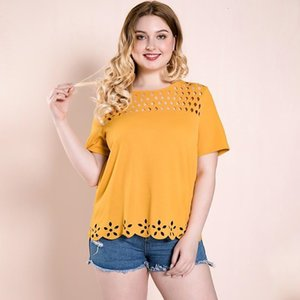 2021 Women's Summer Blouse Female Oversized T Shirt Office Lady Summer Tops Fat Elegant Clothes Orange O Neck 25-35 Years Old