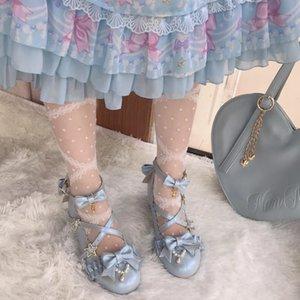 Sweet lolita shoes vintage round head middle heel 3-5cm women shoes cute bowknot cross bandage kawaii shoes loli kawaii girl
