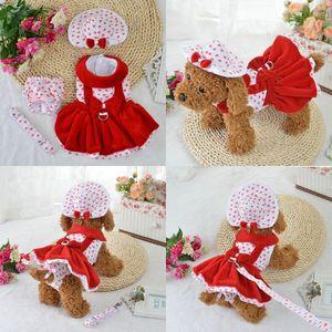 armipet Heart Shape Dog Dresses Fashion Dogs Princess Dress 6071080 Pet Clothing Supplies ( Dress+Hat+Panties Leash = 1 set 558 R2