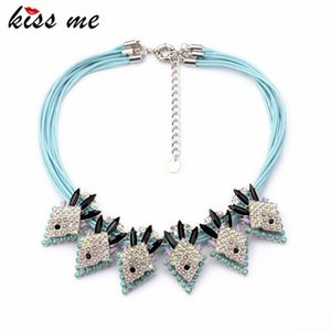 Exquisite Skyblue Mulit Rope Shourouk Chain Statement Boho Chic Necklace Fashion Bijoux For Women Chokers