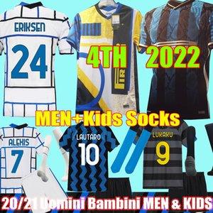 22 22 Inter Soccer Jersey Lukaku Milan Vidal Barella Lautaro Eriksen Alexis Hakimi 2021 2022 4-й футбол футболка Мужчины + Детский комплект Maglie Da Calcio Unforms