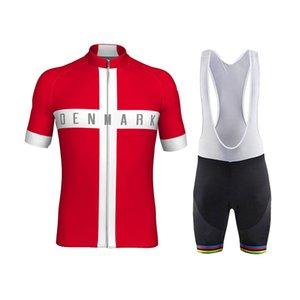Tour de France 2021 Danemark Champion de l'équipe nationale Cycling Jersey Ensemble Ropa Ciclismo Men's Summer Vêtements de cyclisme Vêtements de vélo Vélos Vélo Vélos Vélos Vélos de bretelles