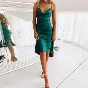 Party Dresses Simple Green Satin Woman Prom Beach Style Thin Straps Solid Color Gown Weddings Plus Size Vestido De Noche