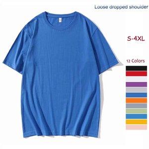 100% pamuk gevşek düştü omuz t-shirt yüksek kalite düz renk yaz erkek kısa kollu t-shirt çiftler moda rahat kıyafetler