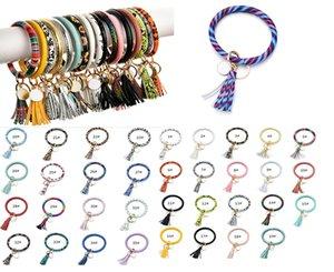 Mixed Colors favor Tassels Keyring Bracelets Wristlet Keychain Bracelet Circle Key Ring Bangle Chain for Women