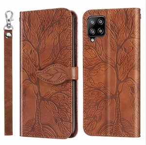 Emboss Tree Premium PU Leather Cases For Iphone 12 Mini 11 Pro Max X XS XR SE2 7 Plus 8 6 6S Wallet Flip Wrist Strap Stand Card Holder Phone Cover