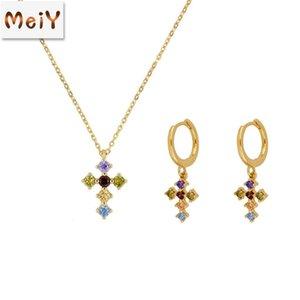 Andywen 925 Sterling Silver Gold Rainbow Cross Zircon CZ Hoops Pendiente Piercing Ohrringe Pulsera Collar Conjunto de joyas Luxury 1471 Q2