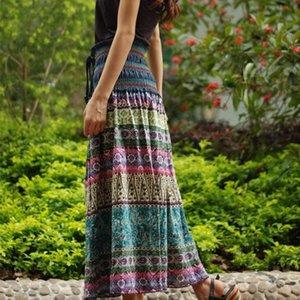 Rok Boho Flowers Elastic A-line Women High Maxi Tail Shirts Vintage Plywood Skirts Summer Fashion Women's clothing