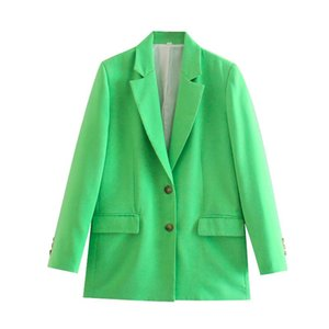 Women's Suits & Blazers The Europe And United States In Autumn Wind Dress 2021 1998 Green Plain Linen Jackets Suit