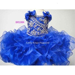 2021 Newest Ball Gown Royal Blue Organza Kids Little Girls Pageant Dresses Birthday Flower Girl Dresses