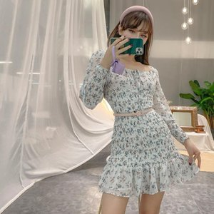 French Laziness Girl Vintage White Pleated Floral Long Sleeve Dress Elastic Wrap Hip Above Knee Puff Dresses Casual