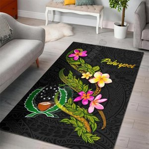 Pohnpei Polynesian Area Rug Plumeria Tribal Floor Mat Non-slip Dining Room Living Soft Bedroom Carpet Carpets