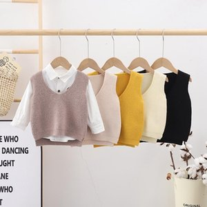 Pullover Autumn Spring Children's Vest Boys And Girls Knitted Waistcoat Korean Style Baby Cute