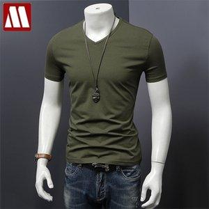 mydbsh 남자 브랜드 의류 여름 솔리드 티셔츠 남성 캐주얼 티셔츠 패션 망 짧은 소매 플러스 사이즈 5XL 전체 210408