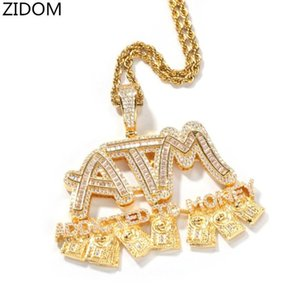 Men Hip Hop Iced Out ATM Addicted To Money Pendant Necklaces High Quality Zircon Hiphop Letters Necklace Charm Jewelry Gifts