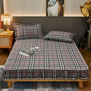 Sheets & Sets 2021 100% Cotton Yarn-dyed Washed Side Quilted Bed Sheet Dustproof Cover Thick Non-slip Mattress