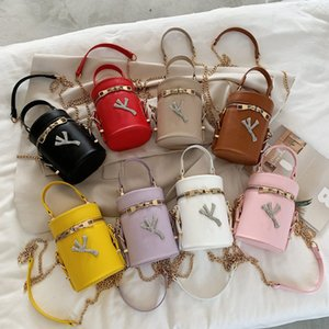 Fashion Letter Crossbody Bags PU Leather Bucket Bag Designer Handbag with Chain Totes Ladies Shoulder Messager Bags Travel Phone Pouch 8Colo