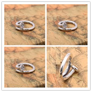 Handmade 925 sterling silver cross flower curving nail adjustable band rings American European punk style antique designer vintage luxury jewelry accessories
