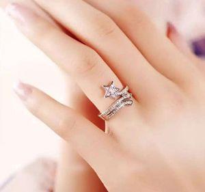 T107 925 الفضة الاسترليني الدائري المذنب مايكرو مطلي حلقات العنقودية مع كامل الماس شخصية المنقولة مؤشر إصبع الإناث الأزياء الأوروبية والأمريكية مفتوحة