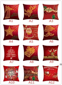 147 Styles Pillow Case Cover Christmas Cushion Covers New Linen Sofa Pillowcase Cushion Cover Xmas Gift Home HWD10648