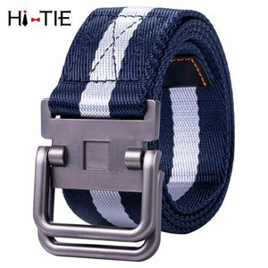 Unisex Canvas Tactical Belt Blue Military Belts For Mens Women Thicken Outdoor Sports Jeans Alloy Double Ring Buckle