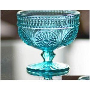 4 Colors Zakka European Style Retro Carved Reliefs Sun Flower Dessert Glass Salad Bowl Ice Tools Bkstt Wgoyq