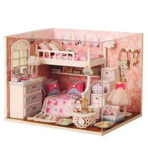 Cutebee DIY House Miniature with Furniture LED Music Dust Cover Model Building Blocks Toys for Children Casa De Boneca 210415