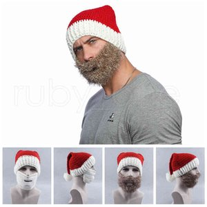 Knitted Xmas Beanies and Beard Adult Decorations Santa Claus Hat Cap With Mask For Christmas Party Gifts Favor RRA3596 OINP 17FQ