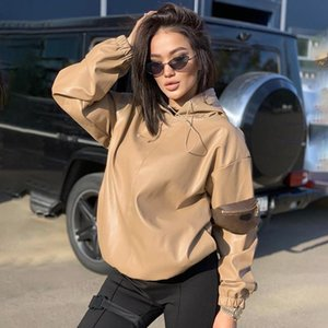 Women's PU Leather Sweatshirts Solid Oversized Hoodies Women 2021 Korean Khaki Hooded Pullovers Crop Top Windbreak Coat Female &