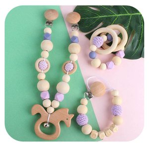 Pacifier Holders 3Pcs Sets Baby Clips Weaning Teething Natural Wooden Girl Silicone Feeding Gifts B4492