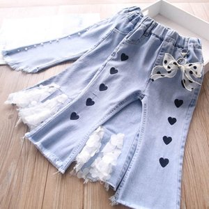 Jeans Children Denim Kids Pants Girls Baby Wear Spring Autumn Lace Pearl Bowknot Flared Trousers Long Flower 2-7Y B4822