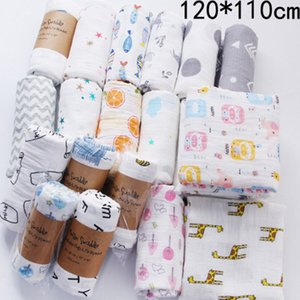 120*110cm Infants Baby Newborn Muslin Blanket Cartoon Crawling Beach Towels Animal Floral Letters Print Swaddle Wrap Stroller Bedding Cover Mat LY224