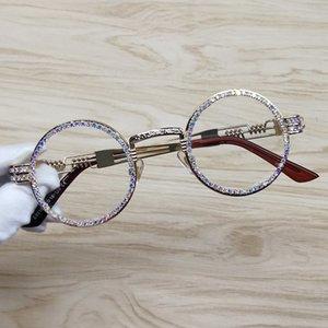 نظارات شمسية مستديرة الإطار المعدني Steampunk حجر الراين عدسة واضحة ريترو دائرة إطار نظارات شمسية T200106