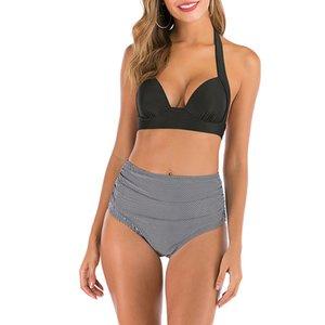 swimwear women new waist bikini set Halter bathing suit woman swimsuit female Plus size bikini 3XL Floral print Womens Swimwear High