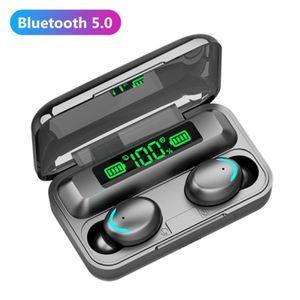F9-5C TWS بلوتوث 5.0 سماعات قابلة للشحن الذكية اللمسات اللاسلكية سماعات مع ميكروفون بطارية عرض ستيريو مركبتي سماعات الرياضة لعبة