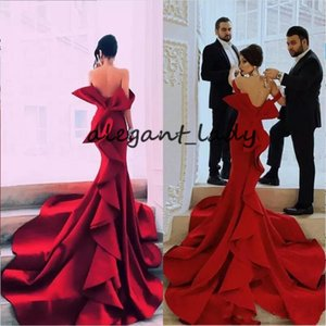 Sexy Tiered Mermaid Prom Dresses Long Strapless Backless Red Carpet Celebrity Evening Party Dress Big Bow Women Gown