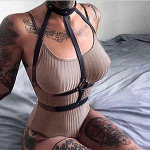 CKMORLS Bdsm Bandage Leather Harness Bra Sexy Body Women Suspenders Erotic Lingerie for Two Lovers Punk Thigh Garter Belt L0407