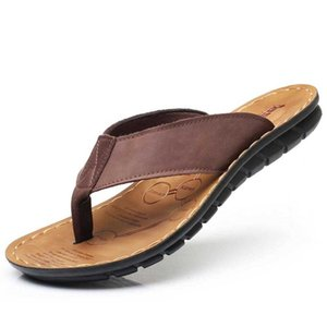 Summer Men Beach Slippers Genuine Leather Fashion Men Flip Flops Soft Sole Comfortable Good Quality Male Flip Flops Men Shoes 210908