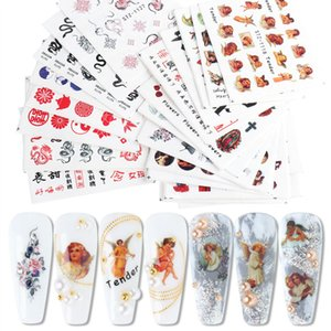 24pcs set Snake letter flame paste Manicure Set watermark sticker color printing nail Stickers decoration women's trend luxury MJ32