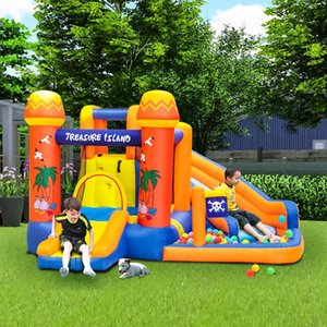 Outdoor Games & Activities Bounce House Water Park Pirate Bay Inflatable Slide Combo Blower Included Inflate Time 2 Minutes